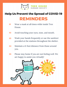 reminders for coronavirus to wear a mask, avoid touching your face, wash hands frequently, maintain a 6 foot distance, stay home if you're sick